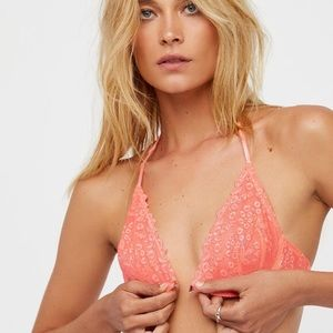 Free People Coral Lace T back Front Clasp Bra